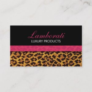 Leopard Print Fashion Designer Elegant Modern Pink Business Card