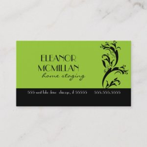 Lime Green and Black Contemporary Swirl Design Business Card