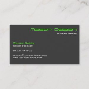 Lime Green Gray Modern Minimalistic Business Card