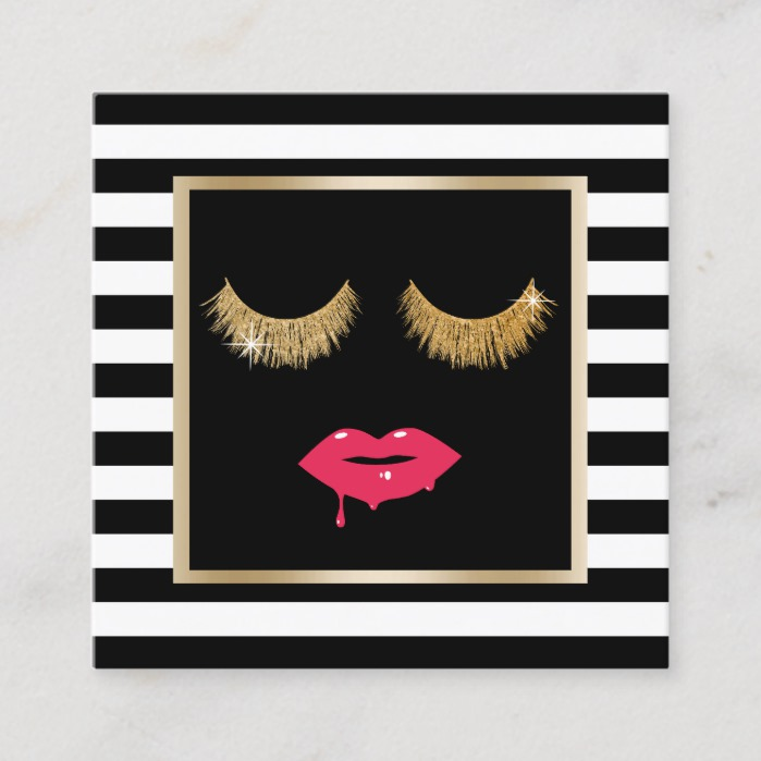 Lips & Lashes Makeup Artist Modern Black Stripes Square Business Card