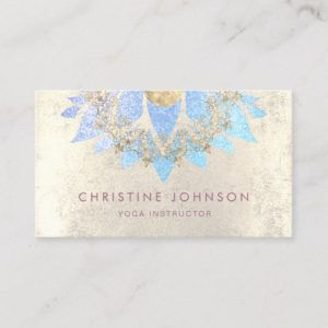 lotus mandala grunge blue yoga instructor business card