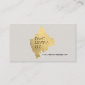 Luxe Abstract Gold Painted Designer Logo on Tan Business Card