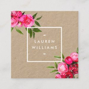 Luxe Bold Watercolor Roses on Kraft Square Business Card
