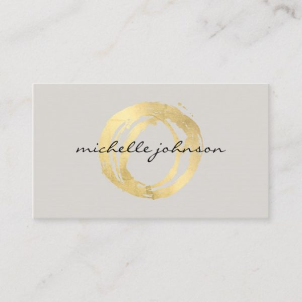 Luxe Faux Gold Painted Circle Designer Logo on Tan Business Card