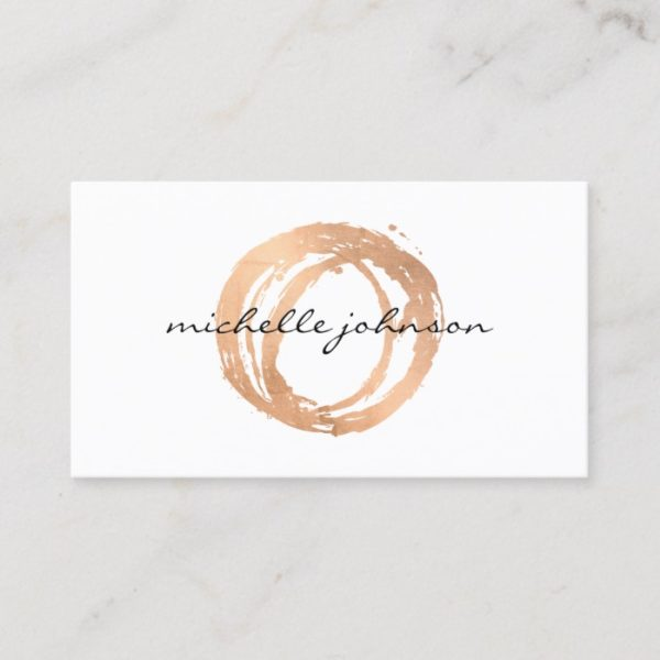 Luxe Faux Rose Gold Painted Circle Designer Logo Business Card