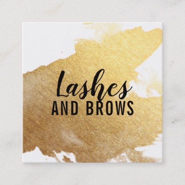 LUXE MINIMALIST glam faux gold foil splash black Square Business Card