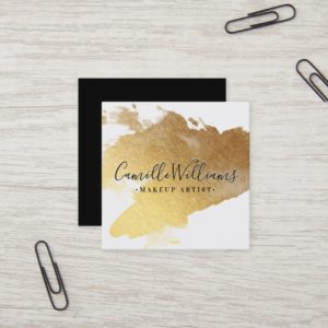 LUXE MINIMALIST glam faux gold foil splash black Square Business Card