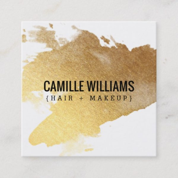 LUXE MINIMALIST glam faux gold foil splash Square Business Card