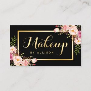 Makeup Artist Black Gold Script Floral Wrap Business Card