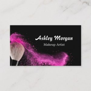 Makeup Artist Brush Powder Fashionable Black White Business Card