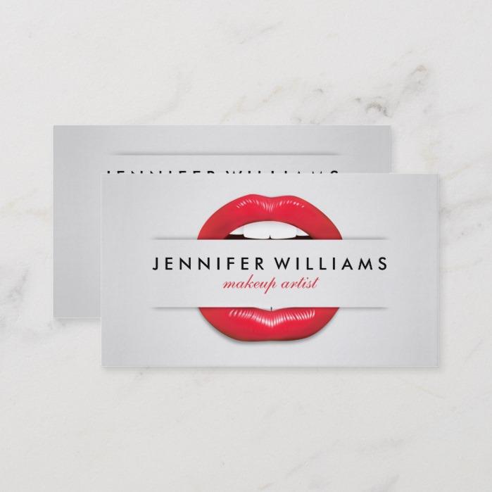Makeup artist cool red lips gray texture modern business card