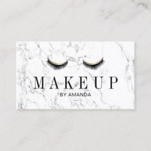 Makeup Artist Elegant Marble Beauty Salon Business Card