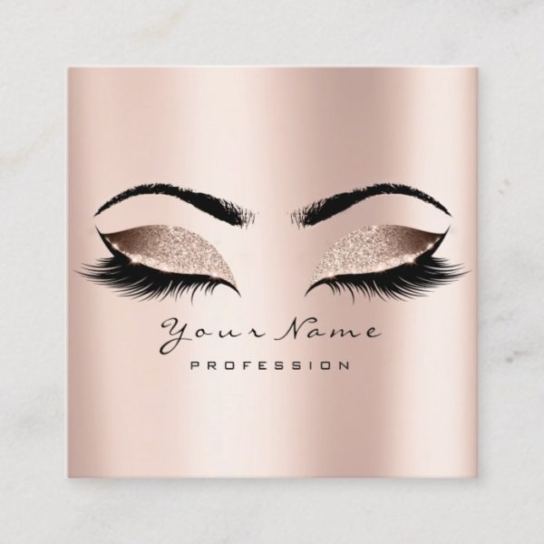 Makeup Artist Eyebrow Eye Lash Glitter Pink Square Square Business Card
