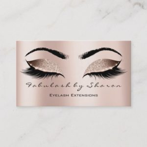 Makeup Artist Eyebrow Lashes Extensi Glitter Pink Business Card