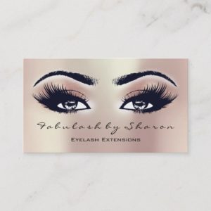 Makeup Artist Eyebrow Lashes Extension Pink Peach Business Card