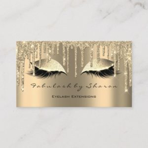 Makeup Artist Eyes Lashes Glitter Drips Sepia Gold Business Card