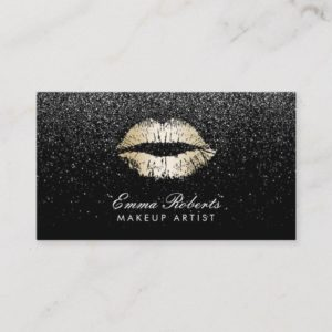 Makeup Artist Gold Lips Trendy Black Glitter Business Card