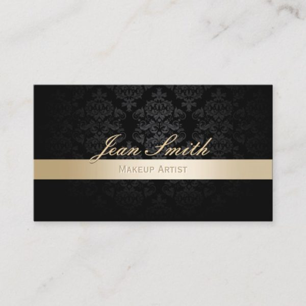 Makeup Artist Gold Striped Black Damask Business Card