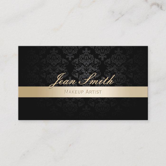 Makeup Artist Gold Striped Black Damask Business Card