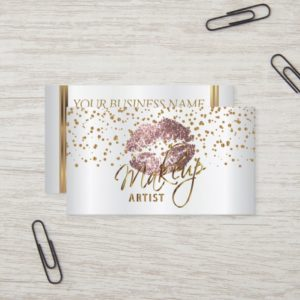 Makeup Artist Golden Confetti & Rose Lips Business Card
