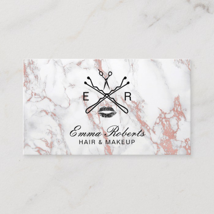 Makeup Artist Hair Salon Beauty Logo Trendy Marble Business Card
