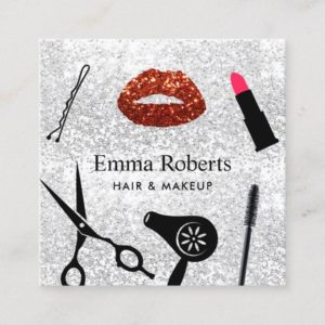 Makeup Artist Hair Salon Modern Silver Glitter Square Business Card
