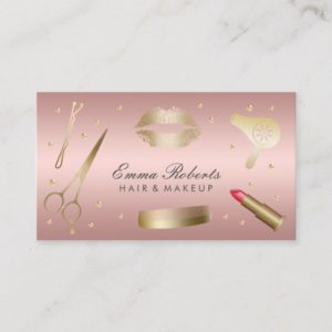 Makeup Artist Hair Stylist Modern Rose Gold Salon Business Card