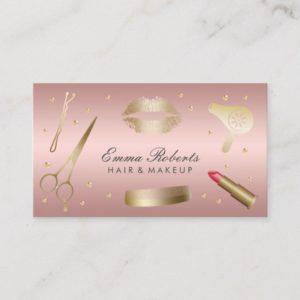 Makeup Artist Hair Stylist Modern Rose Gold Salon Business Card
