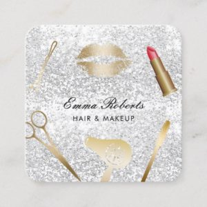 Makeup Artist Hair Stylist Trendy Silver Glitter Square Business Card