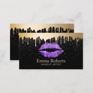 Makeup Artist Purple Lips Gold Drips Modern Black Business Card