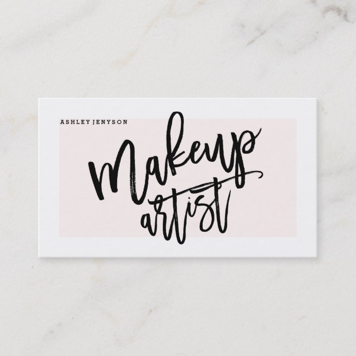 Makeup artist typography modern blush pink business card