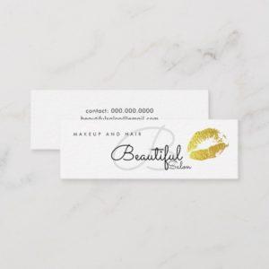 makeup / beauty salon monogram with gold lips mini business card