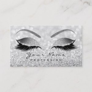 Makeup Eyebrow Eyes Lashes Glitter Gray Silver Business Card