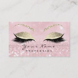 Makeup Eyebrow Eyes Lashes Glitter Pink Gold Business Card