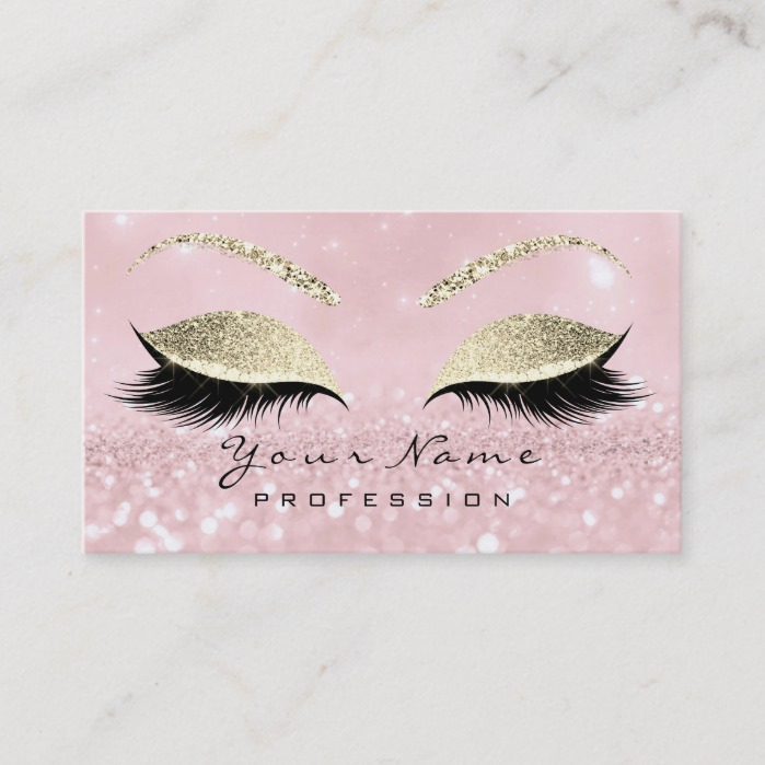2e9f0e1a9ef Makeup Eyebrow Eyes Lashes Glitter Pink Gold Business Card ...
