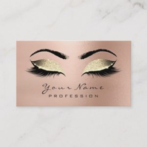 Makeup Eyebrow Eyes Lashes Glitter Rose Gold Lux Business Card