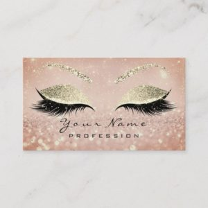 Makeup Eyebrow Eyes Lashes Glitter Skinny Gold Business Card