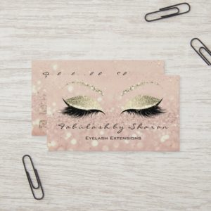 Makeup Eyebrow Lashes Extension Glitter Gold Skinn Business Card