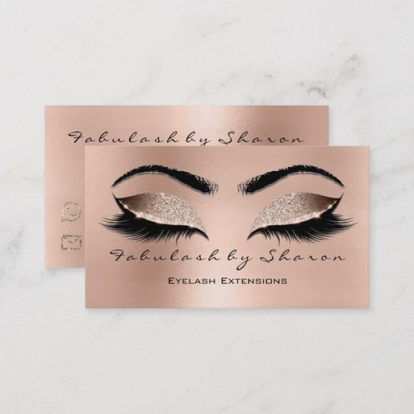 Makeup Eyebrow Lashes Glitter Diamond Pink Browns Business Card