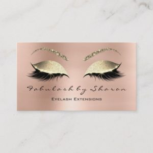 Makeup Eyebrow Lashes Glitter Diamond Pink Luxury Business Card