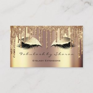 Makeup Eyebrow Lashes Glitter Drips Sepia Gold Business Card