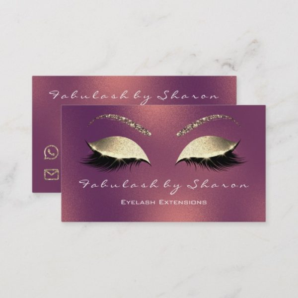 Makeup Eyebrow Lashes Glitter Green Copper Rose Business Card