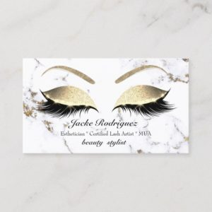 Makeup Eyebrows Lash Gold Marble White Social Business Card