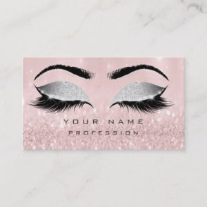 Makeup Eyebrows Lashes Extension Pink Glitter Business Card