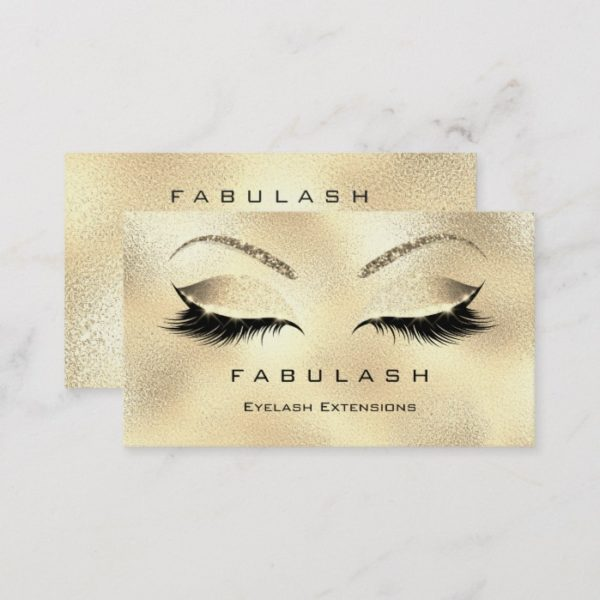 Makeup Eyebrows Lashes Glitter Diamond Gold VIP Business Card
