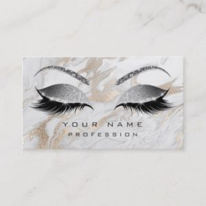 Makeup Eyebrows Lashes Glitter Marble Sparkly Business Card
