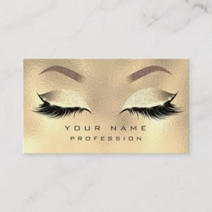 Makeup Eyebrows Lashes Glitter Metallic Faux Gold Business Card