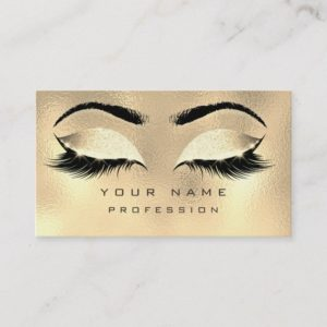 Makeup Eyebrows Lashes Glitter Metallic Glam Gold Business Card