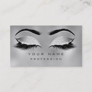 Makeup Eyebrows Lashes Glitter Metallic Glam Gray Business Card