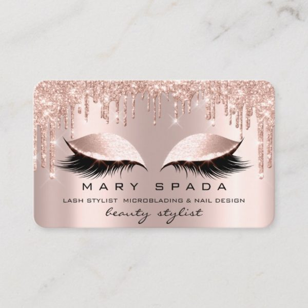 Makeup Eyebrows Lashes Pink Rose Spark Nails Business Card